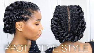 getlinkyoutube.com-Edgy Twisted Office + Gym Protective Natural Hairstyle | Work Out