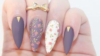 getlinkyoutube.com-HOW TO: Matte Dark Floral Acrylic Nails