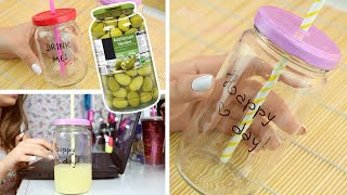 getlinkyoutube.com-#DIY ♡ MAZON JAR USANDO POTE DE AZEITONA! (SUPER FÁCIL)