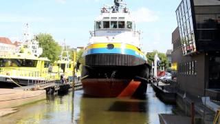 Smit Japan goes on the slipway of ship yard De Haas Maassluis The Netherlands