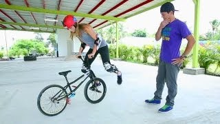 getlinkyoutube.com-Can Lauren Conquer Flatland BMX?