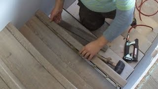 getlinkyoutube.com-Laminate Stairs Installation How to Install Stair Tread Riser Overlap Nose Tips Mryoucandoityourself