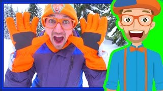 getlinkyoutube.com-Snowmobile in the Snow with Blippi | Winter Outfit for Kids
