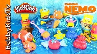 getlinkyoutube.com-PLAY-DOH Nemo Surprise Toys! SpongeBob Rio Monsters U Red Bird Eggs Madagascar LPS by HobbyKidsTV