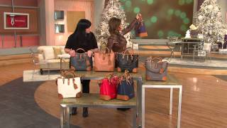 getlinkyoutube.com-Dooney & Bourke Embossed Pebble Leather Shelby Shopper with Amy Stran