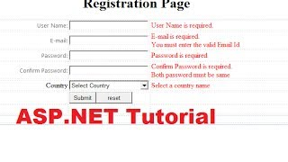 getlinkyoutube.com-ASP.NET Tutorial 2- How to Create a Login website - Validation Controls ( Registration Page )