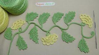 getlinkyoutube.com-Урок вязания - ВЕТОЧКА с бутонами - ирландское кружево - Irish crochet lace