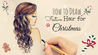 getlinkyoutube.com-Drawing Tutorial ❤ How to draw and color Festive Hair for Christmas | #DebbyMas ♡