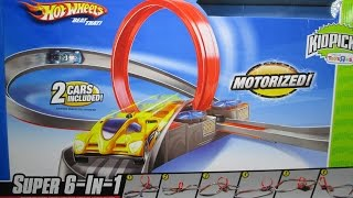 getlinkyoutube.com-Hot Wheels Super 6 In 1 Track Set With A Booster Loop And Curves