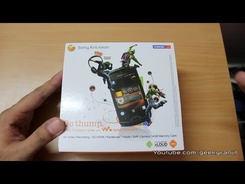 Sony Ericsson Live with walkman android phone unboxing