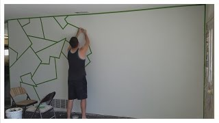 "getlinkyoutube.com-How to Paint ""ALMOST PERFECT"" Line Patterns on Your Wall! (EASY)"