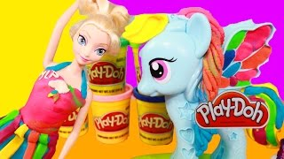 getlinkyoutube.com-Disney Elsa Frozen Play-Doh Makeover MLP Rainbow Dash Princess Playdough Dress Rarity Toy Video