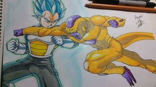 getlinkyoutube.com-Dibujando a Golden freezer vs Vegeta. Drawing Golden Freezer vs Vegeta. speed Drawing Golden Freezer