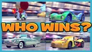 getlinkyoutube.com-Cars 2 The Game FLO vs MIGUEL vs CARLA vs LIGHTNING FAN QUIDO 4 Player Attack