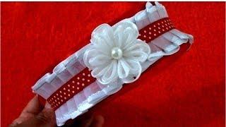 getlinkyoutube.com-Diademas con flores de organza plisadas en cintas para el cabello