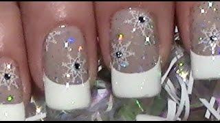 getlinkyoutube.com-Schneeflocken Nägel / Einfaches Winter Stamping Nageldesign / Nail Art Design Tutorial