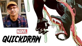 Artist Mike del Mundo draws Venom | Marvel Quickdraw