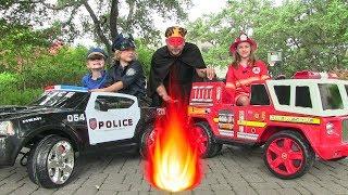 getlinkyoutube.com-Best of Little Heroes from New Sky Kids w The Spark, Princess Elsa, Kid Cops, Firemen & Power Wheels