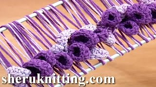 getlinkyoutube.com-Hairpin Lace Crochet Spring Pattern Tutorial 37 Hairpin Crochet Flowers and Leaves