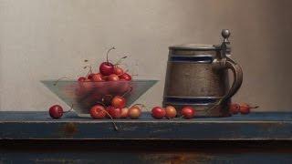 Oil painting demo: Cherry still life