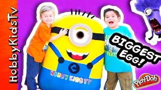getlinkyoutube.com-Worlds BIGGEST Minion Egg Surprise! Play-Doh, Giant Toys Inside + Despicable ME Candy HobbyKidsTV