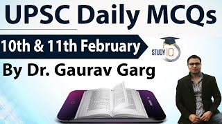 UPSC Daily MCQs on Current Affairs - 10 + 11 February 2018 - for UPSC CSE/ IAS Preparation Prelims