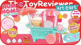 getlinkyoutube.com-Num Noms Art Cart Playset Stamper Eraser Scented Unboxing Toy Review by TheToyReviewer