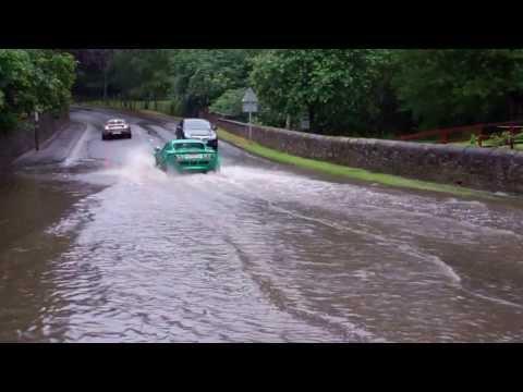 Sports Cars Flooded Road Perth Perthshire Scotland July 18th