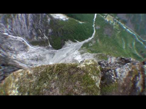 Wingsuit BASE jumping in Gudvangen