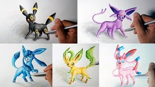 getlinkyoutube.com-Speed Drawing Eevee Evolutions (Umbreon, Espeon, Sylveon, Leafeon, Glaceon) (Shin Art)
