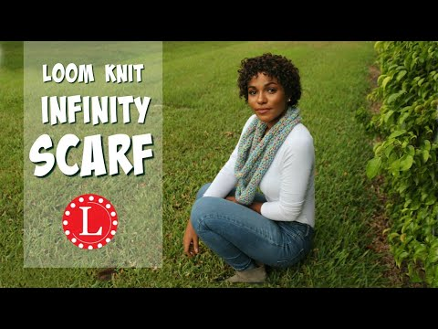 Loom Knit Infinity Scarf on Round Loom Mock Crochet Stitch - Easy Project Pattern for Beginners