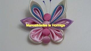 getlinkyoutube.com-Mariposas elaboradas con pétalos kanzashi y gusanito de botones