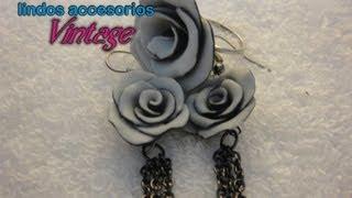 getlinkyoutube.com-DIY♥Cea tus propios accesorios vintage de rosas dobles (aretes y anillo)