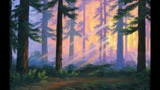 Как рисовать лес 3 на закате с