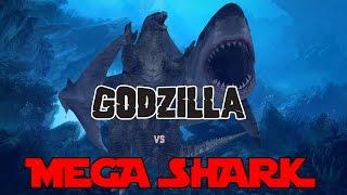 getlinkyoutube.com-Godzilla 2014 Meets Mega Shark - 3D Animation