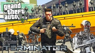 THE TERMINATOR vs ROBOT ARMY ATTACK!! (GTA 5 Mods)