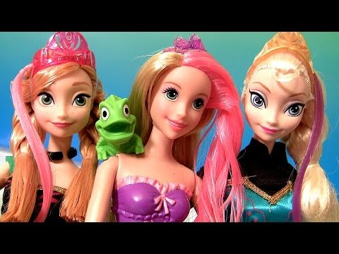 Rapunzel Bath Magic Color Change Doll with Frozen dolls Princess Anna Elsa