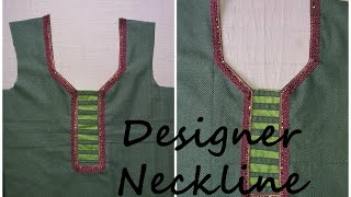 getlinkyoutube.com-HOW TO MAKE DESIGNER NECKLINE / EASY DIY