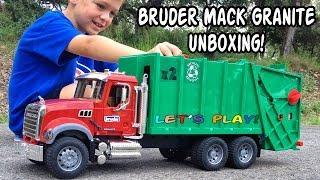 getlinkyoutube.com-GARBAGE TRUCK Videos For Children l BRUDER Mack Granite UNBOXING And Review