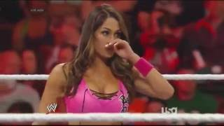 720pHD RAW WWE Divas Handicap Match Nikki Bella vs Alicia Fox & Aksana