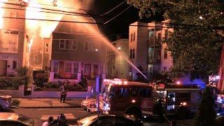 getlinkyoutube.com-Newark NJ Fire Department 4th Alarm Fire 286 Ridge St Heavy Fire in  a Vacant 2.5 Frame