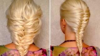 getlinkyoutube.com-French fishtail braid for short medium and long hair tutorial Layered hairstyle for Valentines day