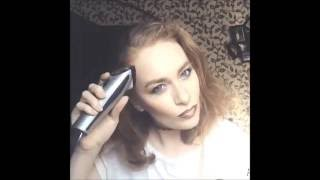 brunette shaves herself bald,buzzed headshave