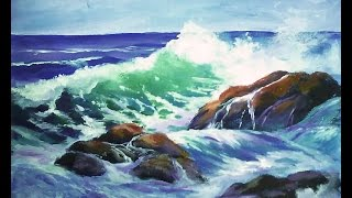 "getlinkyoutube.com-How to Paint a ""Translucent Ocean Wave on the Rocks"" Part 1 - Ginger Cook's Master Class Painting"