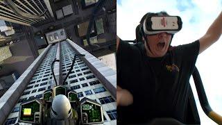 getlinkyoutube.com-Dare Devil Dive Virtual Reality Roller Coaster POV New Revolution Six Flags Over Georgia