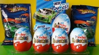 getlinkyoutube.com-8 Kinder Surprise Eggs Hot Wheels Edition + Blind Bags