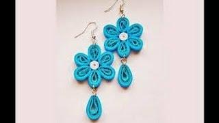 getlinkyoutube.com-Quilling paper Earrings Making with Comb   earrings making designs - earrings making designs