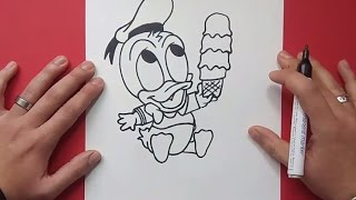 getlinkyoutube.com-Como dibujar al pato Donald paso a paso 4 - Disney | How to draw Donald duck 4 - Disney
