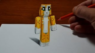 getlinkyoutube.com-Drawing Minecraft Stampy Cat Doll - Cool 3D Trick Art