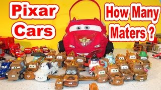 getlinkyoutube.com-Disney Pixar Cars Lightning McQueen Carry Case, Guess How Many Maters are in the Case